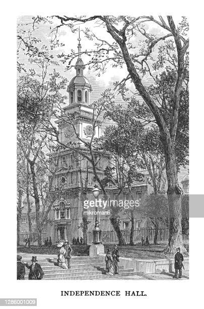old engraved illustration of  independence hall in philadelphia, pennsylvania - 100th anniversary stock pictures, royalty-free photos & images