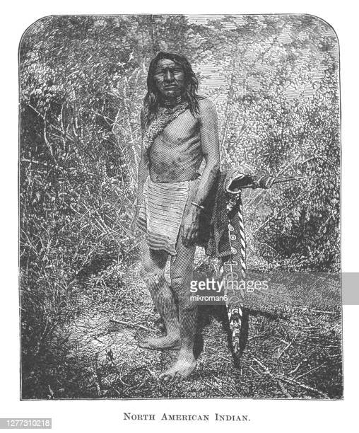 old engraved illustration of indian, native american life - history stock pictures, royalty-free photos & images
