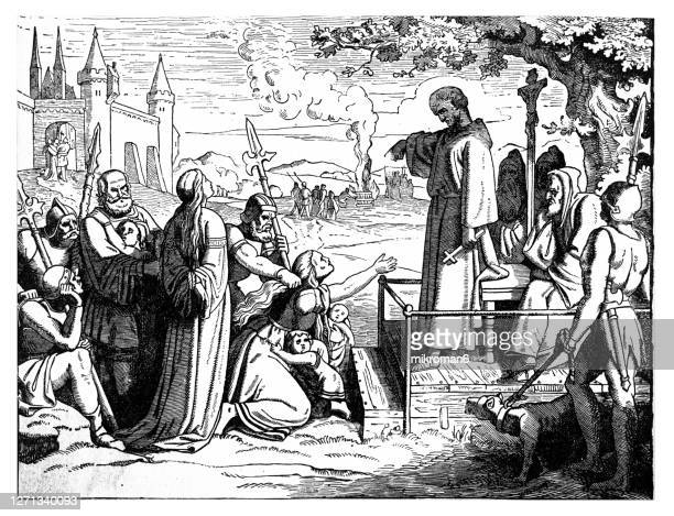 old engraved illustration of jews condemned to be burned at the stake (original caption) - execution stock pictures, royalty-free photos & images