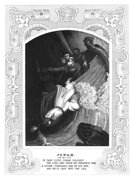 Old engraved illustration of Jonah