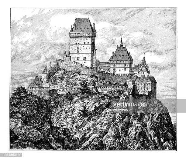 old engraved illustration of karlštejn castle, hrad karlštejn, burg karlstein - large gothic castle founded by charles iv, holy roman emperor-elect and king of bohemia. - castle stock pictures, royalty-free photos & images