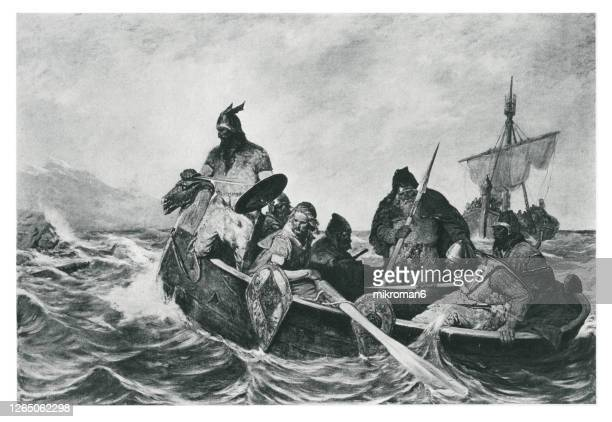 old engraved illustration of leif ericson off the coast of vineland - painting stock pictures, royalty-free photos & images
