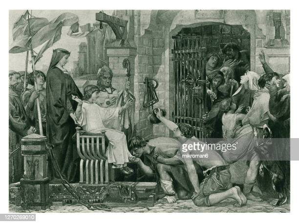 old engraved illustration of louis ix opens the jails of france - king royal person stock pictures, royalty-free photos & images