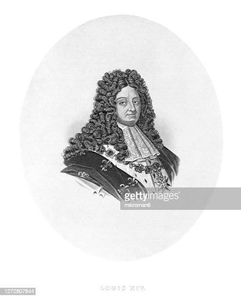 old engraved illustration of louis xiv - louis xiv of france stock pictures, royalty-free photos & images