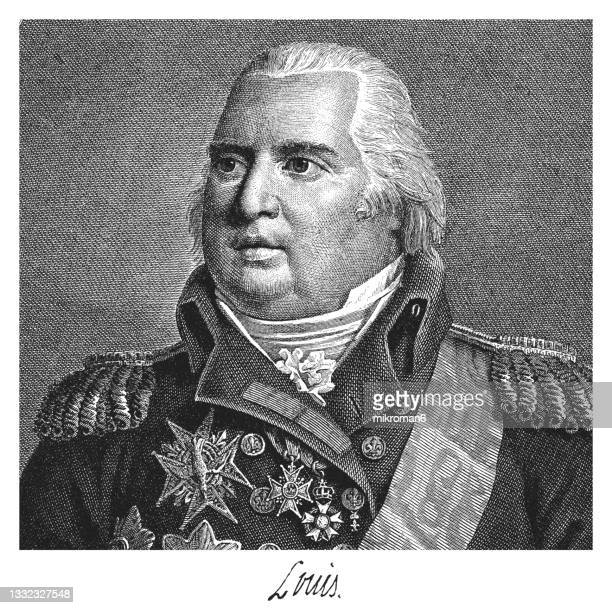 old engraved illustration of louis xviii,  king of france from 1814 to 1824 (known as the desired) - queen royal person stock pictures, royalty-free photos & images