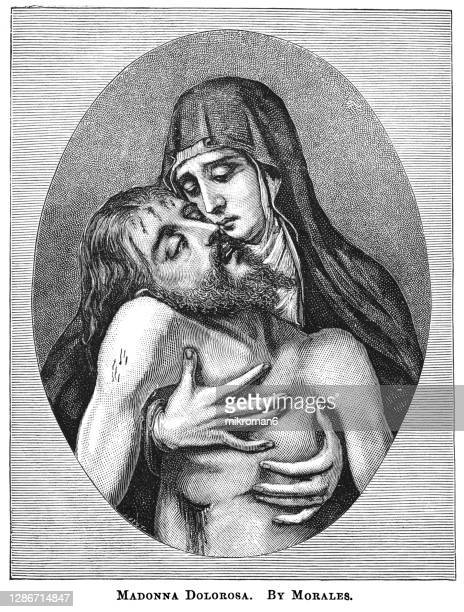 old engraved illustration of madonna dolorosa by luis de morales - good friday stock pictures, royalty-free photos & images