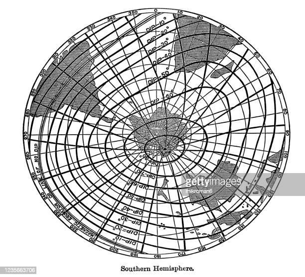 old engraved illustration of magnetism, magnetic elements of southern hemisphere - physics stock-fotos und bilder