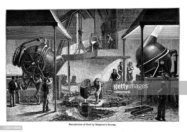 old engraved illustration of manufacture of steel by bessemer's process - 19th century stock pictures, royalty-free photos & images