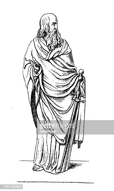 old engraved illustration of marble sculpture of the apostle paul - drawing stock pictures, royalty-free photos & images