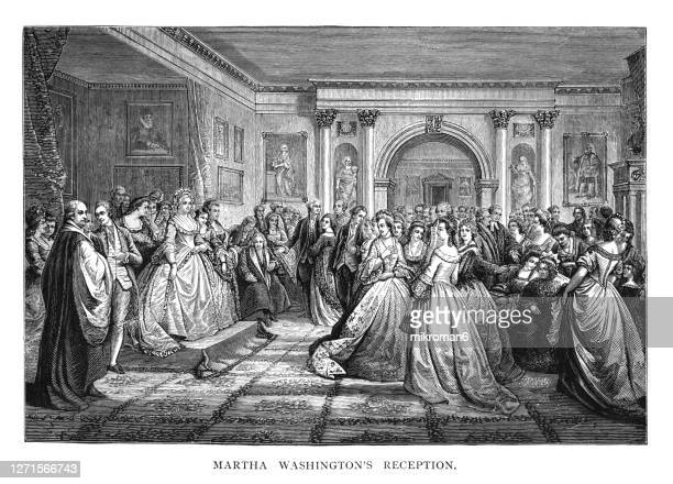 old engraved illustration of martha washington, presidential reception - united states presidential election stock pictures, royalty-free photos & images