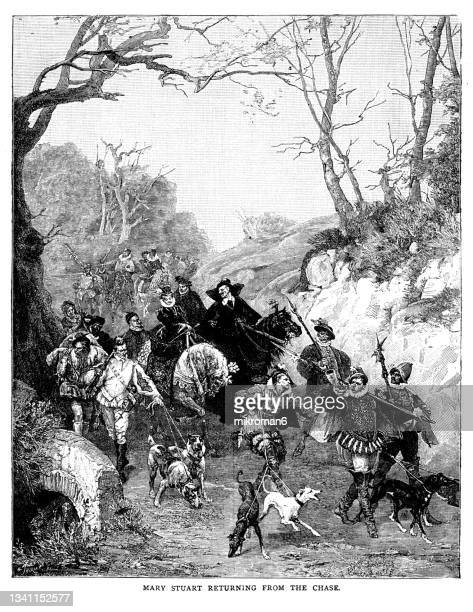 old engraved illustration of mary stuart returning from the chase - british royalty stock pictures, royalty-free photos & images