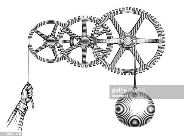 old engraved illustration of mechanical powers, examples of the practical application of the mechanical power - gravyr bildbanksfoton och bilder