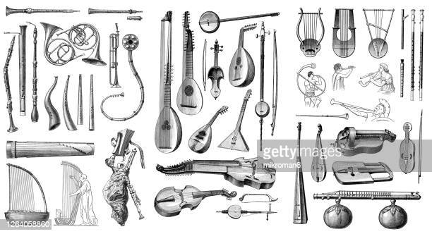old engraved illustration of musical instruments - musical symbol stock pictures, royalty-free photos & images