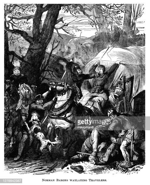old engraved illustration of norman barons waylaying travelers in england in the late middle ages - war stock pictures, royalty-free photos & images