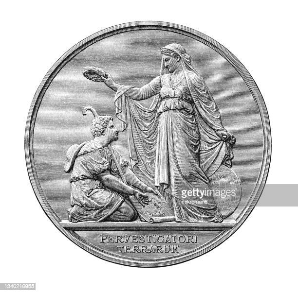 old engraved illustration of numismatics, alexander von humboldt - geographical society medal, berlin - insignia stock pictures, royalty-free photos & images