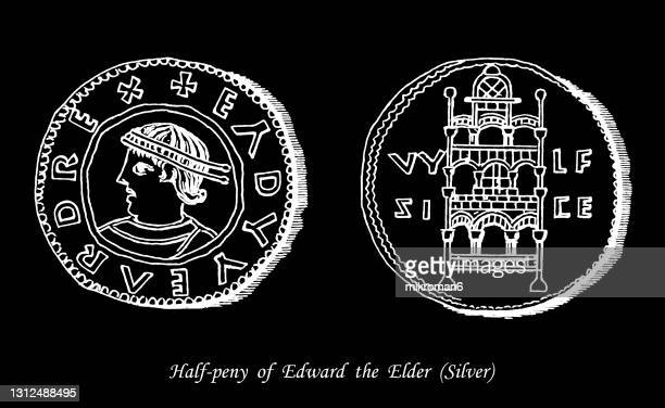 old engraved illustration of numismatics, anglo-saxon silver half-penny of edward the elder - british royalty stock pictures, royalty-free photos & images