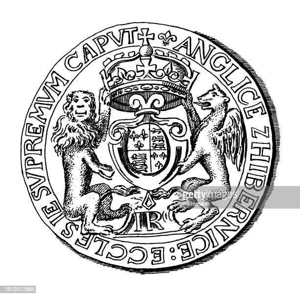 old engraved illustration of numismatics - crown of henry viii, gold coin - british royalty stock pictures, royalty-free photos & images