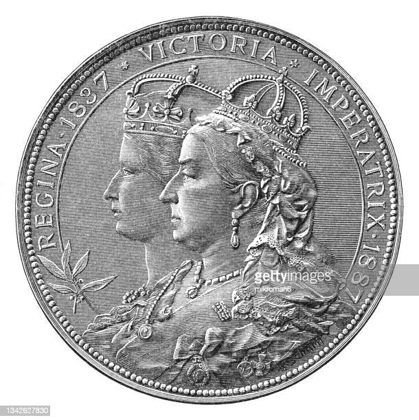 old engraved illustration of numismatics, medal for the 50th anniversary of the reign of queen victoria of great britain and ireland - british royalty stock pictures, royalty-free photos & images