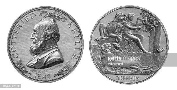 old engraved illustration of numismatics, medal gottfried keller (swiss poet and writer of german literature) - insignia stock pictures, royalty-free photos & images