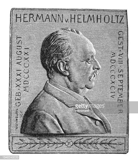 old engraved illustration of numismatics, medal hermann ludwig ferdinand von helmholtz (german physician) - insignia stock pictures, royalty-free photos & images