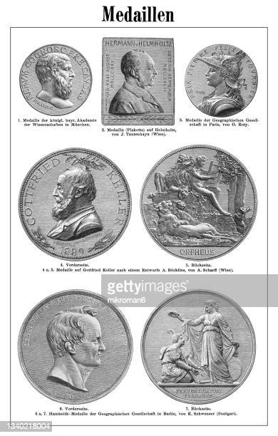 old engraved illustration of numismatics, medals - insignia stock pictures, royalty-free photos & images
