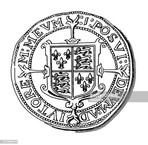 old engraved illustration of numismatics, silver half crown of queen elizabeth - british royalty stock pictures, royalty-free photos & images