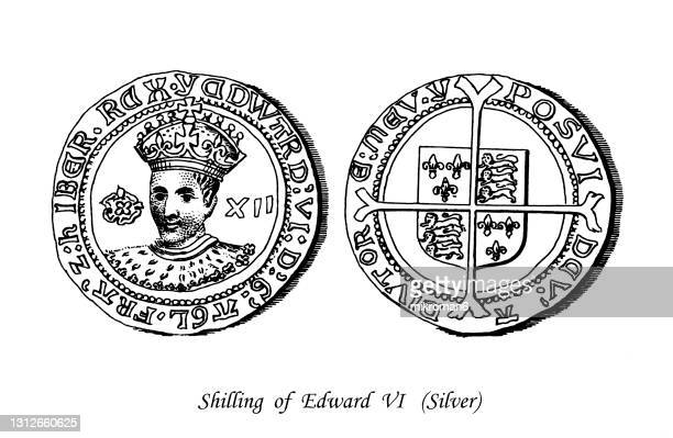 old engraved illustration of numismatics, silver shilling of tudor edward vi - british royalty stock pictures, royalty-free photos & images
