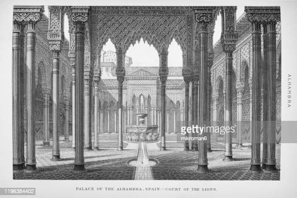 old engraved illustration of palace of alhambra, popular encyclopedia published 1894 - engraving stock pictures, royalty-free photos & images