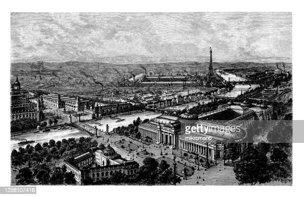 old engraved illustration of paris exhibition buildings and grounds near the eiffel tower - paris france stock pictures, royalty-free photos & images