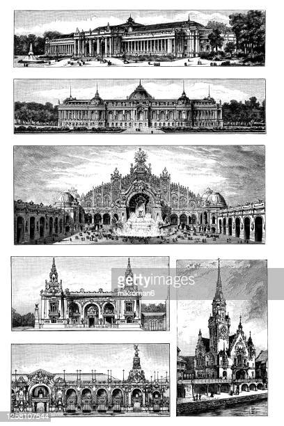 old engraved illustration of paris exhibition buildings - les invalides quarter stock pictures, royalty-free photos & images