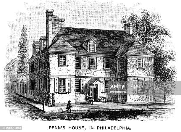 old engraved illustration of penn's house in philadelphia - quaker stock pictures, royalty-free photos & images