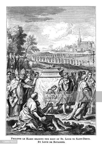 old engraved illustration of philippe le hardi bearing the body of st. louis to saint denis by louis de boullogne - the royal photographic society stock pictures, royalty-free photos & images