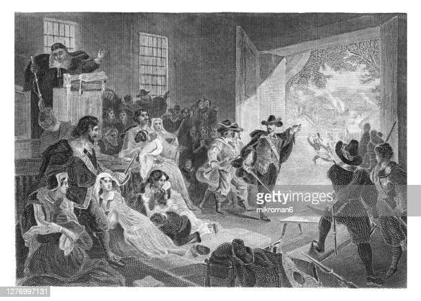 old engraved illustration of pilgrim fathers, puritans assemble in church during a raid of native americans. - pilgrim stock pictures, royalty-free photos & images