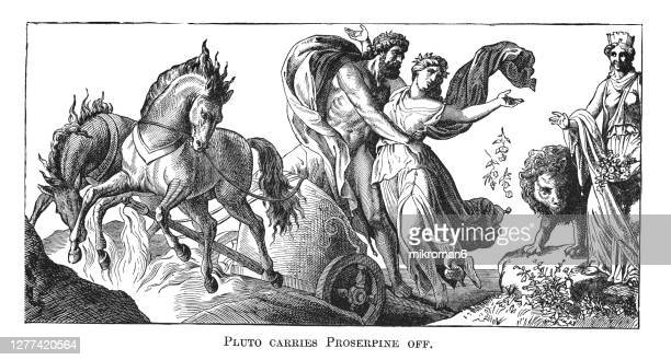 old engraved illustration of pluto carrying off proserpina (proserpine). - weaponry stock pictures, royalty-free photos & images