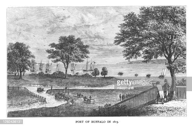 old engraved illustration of port of buffalo on lake erie, canada in 1815 - buffalo bundesstaat new york stock-fotos und bilder