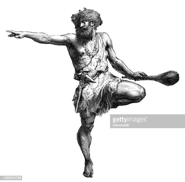 old engraved illustration of prehistoric man of the neolithic age - early homo sapiens stock pictures, royalty-free photos & images