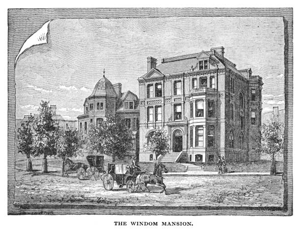 Old engraved illustration of Queen Anne-style Windom House on the northwest corner of Massachusetts Avenue and 16th Street NW, (Current site of the Australian Embassy), United States
