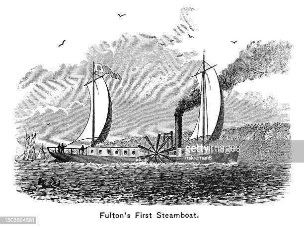 old engraved illustration of robert fulton's first steamboat - passenger craft stock pictures, royalty-free photos & images