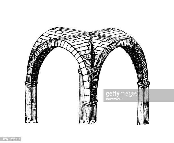 old engraved illustration of roman barrel vault and roman cross vault - roman architecture - medieval stock pictures, royalty-free photos & images