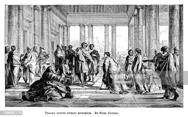 old engraved illustration of roman emperor trajan (53 ad - 117 ad) giving public audiences - the royal photographic society stock pictures, royalty-free photos & images