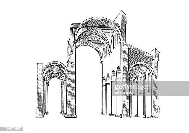 old engraved illustration of romanesque architecture style - architecture stock pictures, royalty-free photos & images