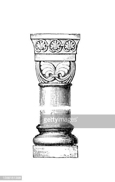 old engraved illustration of romanesque architecture style - column stock pictures, royalty-free photos & images