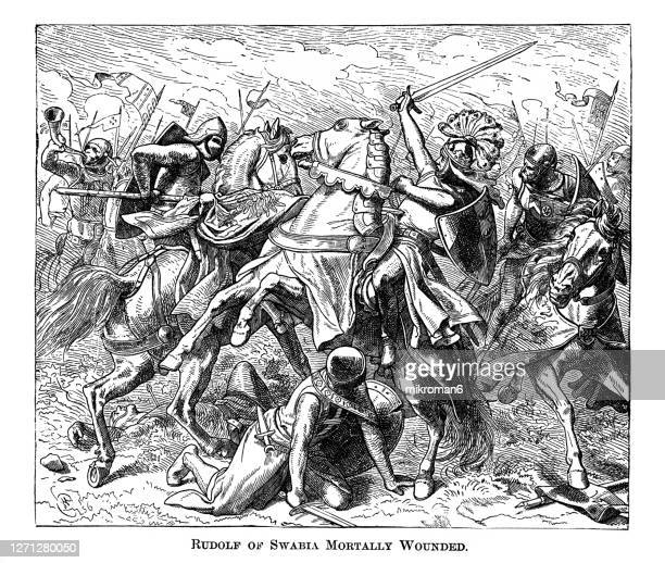 old engraved illustration of rudolf of swabia mortally wounded, battle on the elster - king royal person stock pictures, royalty-free photos & images