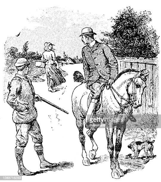 old engraved illustration of rural scene of english men are going hunting - hunting stock pictures, royalty-free photos & images