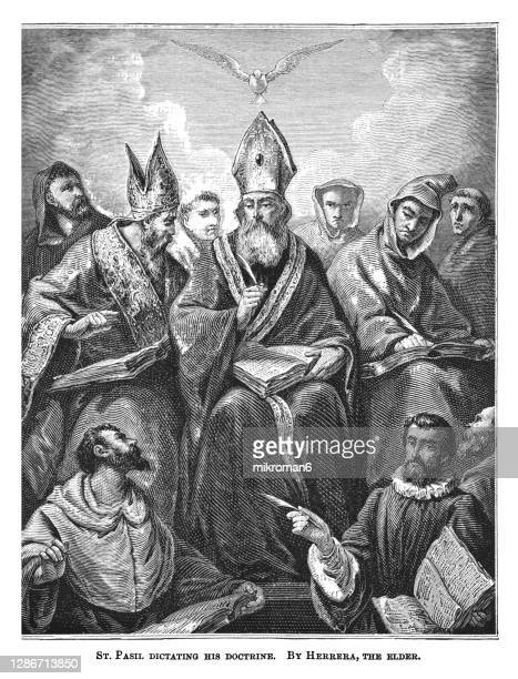 old engraved illustration of saint basil dictating his doctrine by francisco herrera the elder - the royal photographic society stock pictures, royalty-free photos & images
