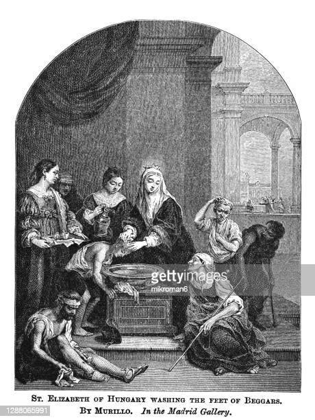 old engraved illustration of saint elizabeth of hungary cleansing the head of a leprous beggar bartolomé esteban murillo - west indies stock pictures, royalty-free photos & images
