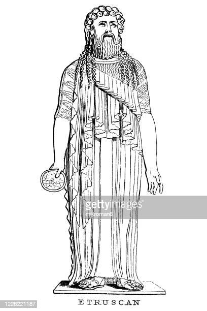 old engraved illustration of sculpture, etruscan sculpture - latium stock pictures, royalty-free photos & images
