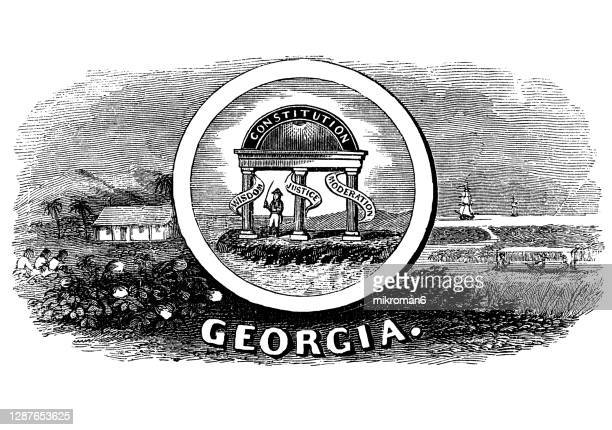 old engraved illustration of seal of georgia us state, united states of america (usa) - georgia us state stock pictures, royalty-free photos & images