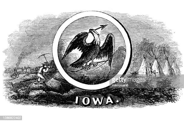 old engraved illustration of seal of iowa us state, united states of america (usa) - des moines stock pictures, royalty-free photos & images