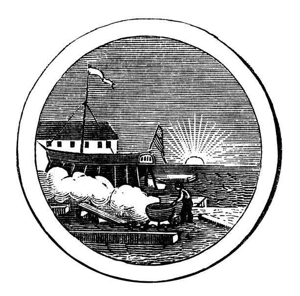 Old engraved illustration of seal of New Hampshire US State, United States of America (USA)